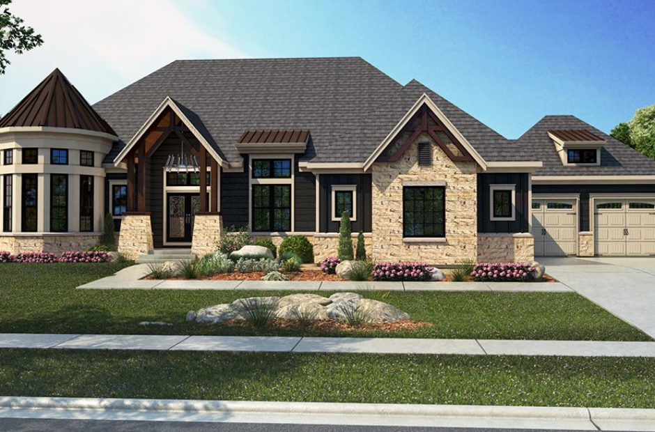 Exterior rendering of single story home