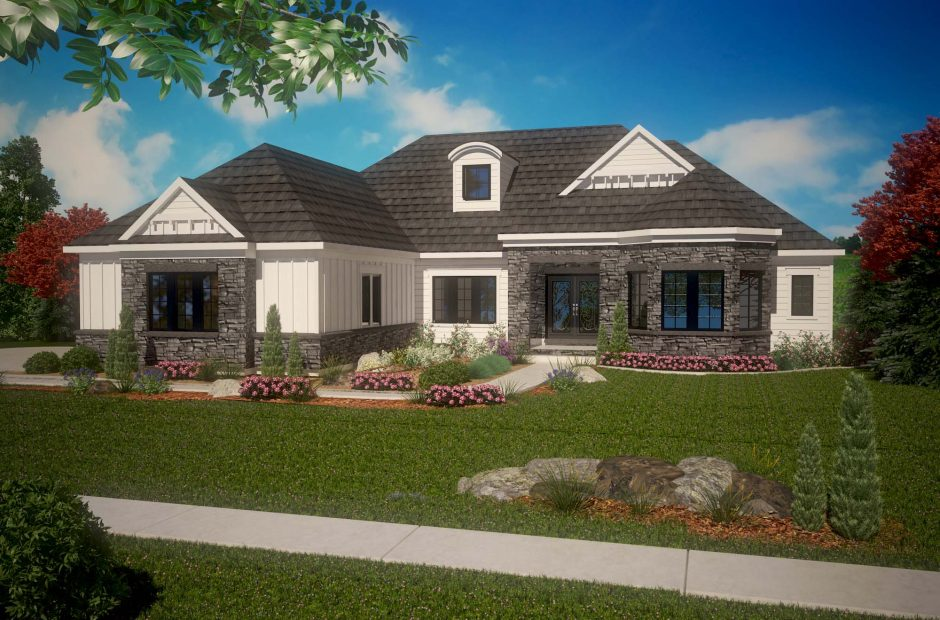 Heatherwood craftsman elevation rendering