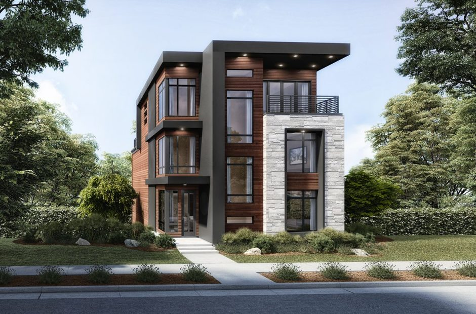 contemporary 3D rendering of three story home